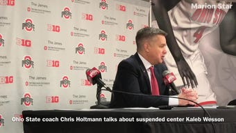 Ohio State men's basketball coach Chris Holtmann talks about suspended sophomore center Kaleb Wesson after Sunday's regular season finale.