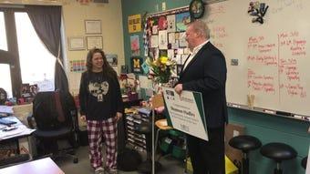 Shannon Hadley, an ESL teacher at Novi High School, was named 2019 Novi Teacher of the Year on March 11, 2019, and was awarded a multi-year car lease.