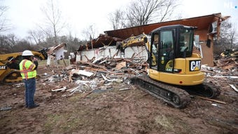 Bass Pro teamed up with Convoy of Hope to help volunteers practice with demolition at Finley Farms in Ozark