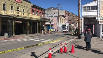 An explosion damages the Delta Saloon in Virginia City on March 12, 2019.