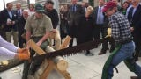 Representing the House, Speaker Glen Casada and Rep. Chris Todd participated in a crosscut saw competition during Ag Day on the Hill, March 12, 2019.