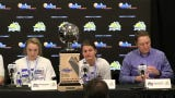 Coach Aaron Johnston and players talk to the media after the Jackrabbits' Summit League tile over USD on Tuesday.