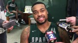 MIchigan State's Nick Ward is back from a broken hand, and said his next step is improved conditioning in this week's Big Ten tourney, March 12, 2019.