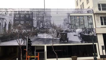 Mike Mangham with Twin Blends Photography shows us a historic photo being used in downtown.
