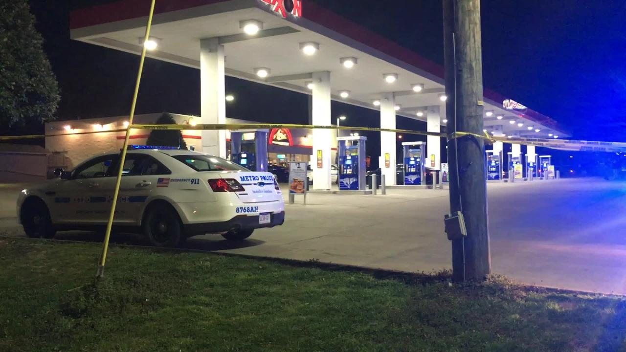 Police are investigating a shooting at a gas station on Shelby Avenue near  Nissan Stadium