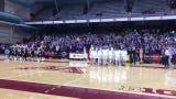 The Albany girls basketball team celebrates after beating Holy Family Catholic 60-49 Wednesday at Maturi Pavilion.