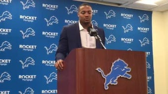 New Lions defensive end Trey Flowers explains why he's happy to again play for Matt Patricia, March 14, 2019 in Allen Park.