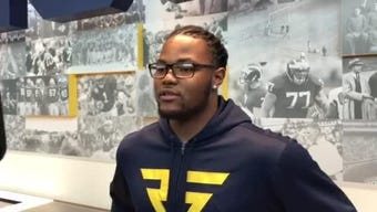 Michigan defensive lineman Rashan Gary speaks to the media at U-M's Pro Day on Friday, March 15, 2019, in Ann Arbor.