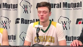 Sheboygan Lutheran junior Jacob Ognacevic talks about the Crusaders' victory in a WIAA Division 5 state semifinal game Friday at the Kohl Center.