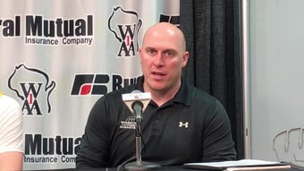 Sheboygan Lutheran coach Nick Verhagen talks about the Crusaders' victory Friday in a Division 5 state semifinal game at the Kohl Center in Madison.