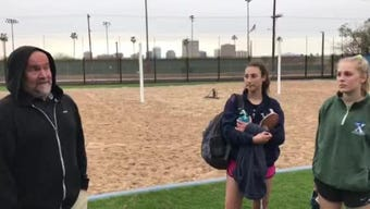 Xavier Prep beach volleyball coach Tim McHale explains the game's rules and team dynamics with seniors Shea Sciarappo and Shannon Shields