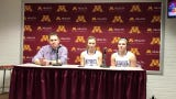 Albany head coach Aaron Boyum and players Amanda Kollodge and Paige Meyer address the media after their 70-67 semifinal loss to Minnehaha Academy.