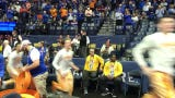 Tennessee basketball starts warmups ahead of taking on Kentucky in the semifinals of the SEC tournament.