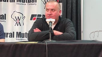 Columbus Catholic coach Joe Konieczny talks about the Division 5 state championship loss to Sheboygan Lutheran at the Kohl Center in Madison.