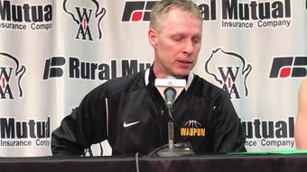 Waupun coach Dan Domask talks about the Warriors' loss to Martin Luther in the WIAA Division 3 state championship game Saturday at the Kohl Center.