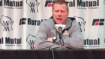 Lourdes Academy coach Brad Clark talks about the Knights' loss to New Glarus on Saturday in the WIAA Division 3 state championship game.