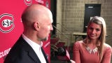 Brett Larson discusses St. Cloud State's NCHC sweep of Miami, which included a 6-3 win Saturday. The Huskies are headed to the NCHC Frozen Faceoff.