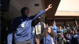 Community members gathered at Poughkeepsie High School on Sunday to welcome back the boys basketball team that captured the state title on Saturday night. It's their first state title since 1995. Video by Jack Howland/Poughkeepsie Journal