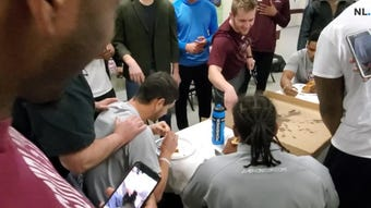 Football Bears open spring season with pizza eating contest