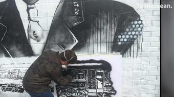 Watch as this mural by Bryan Deese comes to life in downtown Gallatin.