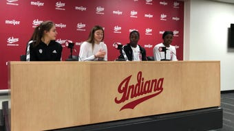 IU players Ali Patberg (far left), Brenna Wise (center left), Bendu Yeaney (center right) and Kym Royster (far right) talk about landing NCAA berth.