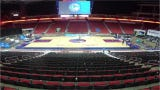 Watch workers take apart the Iowa Wolves basketball court and install the NCAA Tournament basketball court in about 4 hours overnight March 16-17, 2019, at Wells Fargo Arena in Des Moines.