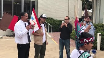 Israel Villa of MILPA speaks at a protest for Brenda Mendoza who was shot by police March 1 following an hours-long standoff.