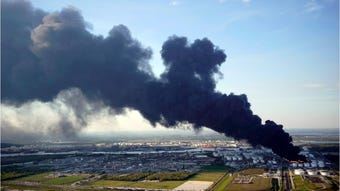 A fire at a Houston-area petrochemical storage site has continued to burn late into Monday, and reports are claiming and it is expected to burn for up to two more days.