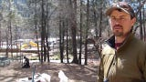 Clayton Bowers, field operations director and plant ecologist for Rocky Mountain Ecology, explains the project at two rivers Park in Ruidoso.