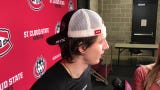St. Cloud State men's hockey player Easton Brodzinski discusses the NCHC playoff series sweep of Miami of Ohio.