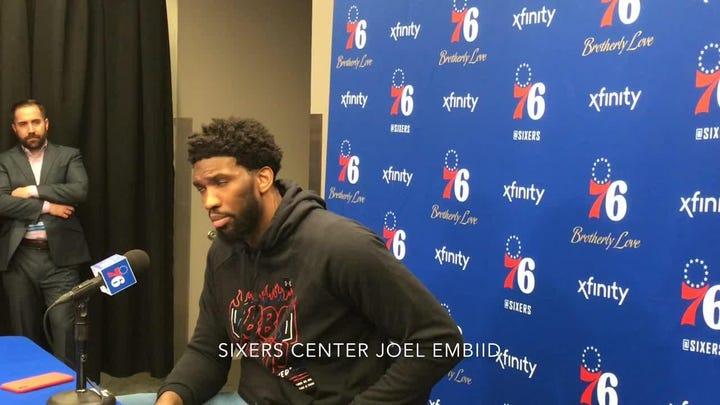 Joel Embiid on shove from Celtics' Marcus Smart
