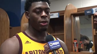 Guard Luguentz Dort discusses ASU's First Four win over St. John's with Cronkite News' Chancellor Johnson in Dayton on Wednesday.