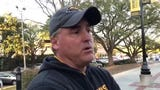 Southern Miss head coach Jay Hopson answers questions Tuesday after the first day of spring practice.