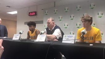 Moeller head basketball coach Carl Kremer discusses the state semifinal game against Lakewood St. Edward March 22.