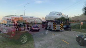 A two-car collision on U.S. 1 sent four people to hospitals, Palm Bay police said.
