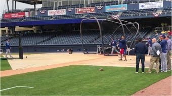 Sights and sounds around First Tennessee Park during Sunday's exhibition between the Sounds and Texas Rangers.
