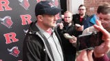 Rutgers wrestling coach Scott Goodale talks to the media after his team won two individual titles (Suriano 133, Ashnault 149) in the same night of the 2019 NCAA Division I wrestling championships.