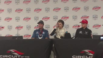 Sitting between his team bosses, Mike Harding (far left) and George Michael Steinbrenner IV, rookie driver Colton Herta breaks down his historic win.