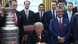 President Donald Trump welcomed the reigning NHL champion Washington Capitals to the Oval Office.