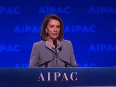 """At a time of deep division within the Democratic party over support for Israel, House Speaker Nancy Pelosi addressed the AIPAC conference Tuesday, declaring that support for Israel within the U.S. Congress is """"iron-clad and bipartisan."""" (March 26)"""
