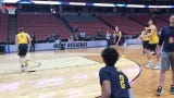 Michigan basketball practices ahead of Texas Tech Sweet 16 game on Wednesday, March 27, 2019, in Anaheim, Calif.