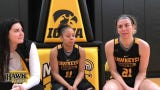 Iowa seniors Tania Davis, middle, and Hannah Stewart, right, reflect on their careers and the uncommon chemistry that developed within this team.