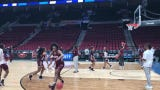 Mississippi State warms up for a practice in Portland.