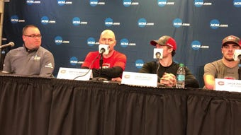 St. Cloud State head men's hockey coach Brett Larson thanks the folks putting on the West Region at Thursday's press conference in Fargo, N.D.