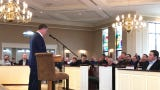 New York Giants Head Coach Pat Shurmur speaks to congregants at St. James Chruch in the Basking Ridge section of Bernards Townshio.