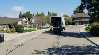 Visalia sanitation crews are hard at  work removing split trash cans from across the city.