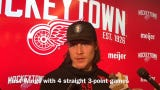 Red Wings are having fun, though they can't believe Tyler Bertuzzi is the first player in club history to record 4 straight 3-point games. Filmed April 2, 2019 in Detroit.