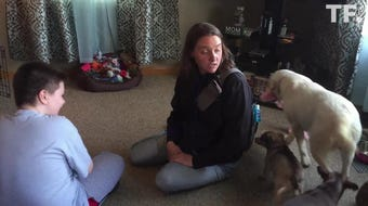 Jewell was brought to Brenden Hager's New Washington home by Erin Gray of Service Dogs by Warren Retrievers.