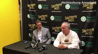 Golden Eagles basketball coach Doc Sadler and incoming athletic director Jeremy McClain talk about Sadler's resignation on Thursday, April 11, 2019.