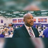 """1999 MVC men's basketball Player of the Year Marcus Wilson was the keynote speaker Friday at """"Lunch with the Aces"""" on Evansville's campus."""